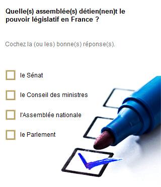 Quelle(s) assemblée(s) détien(nen)t le pouvoir législatif en France ? 1/ le Sénat 2/ le Conseil des ministres 3/ l'Assemblée nationale 4/ le Parlement